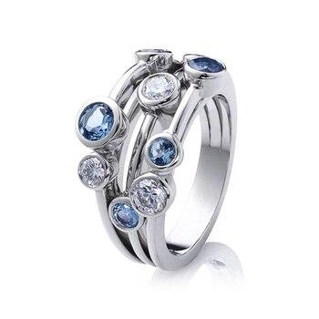 Huitan-anillos de banda estilo Partysu para mujer, 3 filas con piedra redonda...