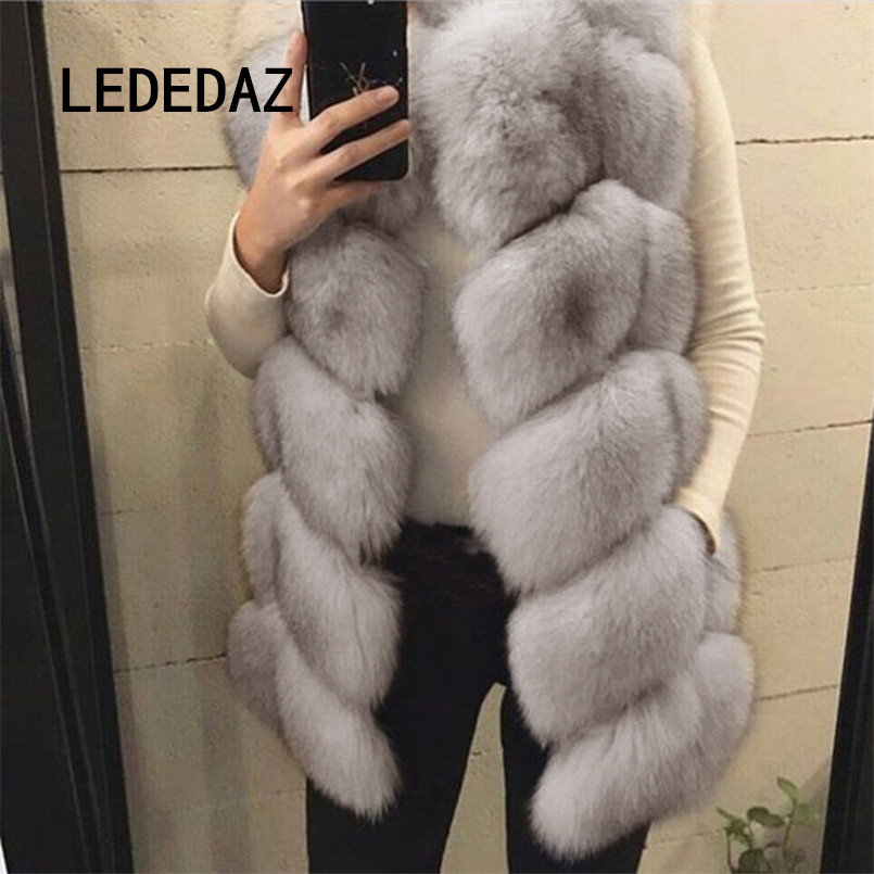 Full Pelt Thick & Warm Winter Fake Fox Fur Coat Very Soft Furry Teddy Coat Fashion Ladies Slim Fur Vest With Pockets Free Brush