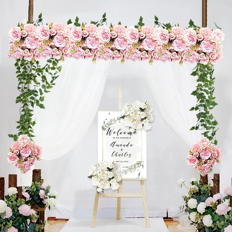 Customize Artificial Flower Row Garland Decor Home Curtain Wedding Road Lead Corner Flower Wall Silk Flower Centerpieces Ball Artificial Dried Flowers Aliexpress