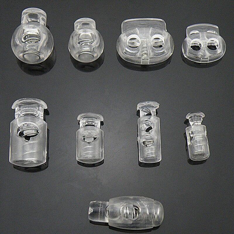 Braçadeira transparente para prender trava, fivela de plástico transparente para óculos, cadarço, roupas esportivas, acessórios para diy com 10 peças