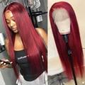Красные цветные человеческие волосы 99j, парики Maylaysian, прямые передние человеческие волосы на сетке, парики для женщин, 28 дюймов, Remy 150% HD, пари...