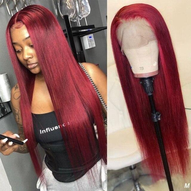 Ably Red 99j kolorowe peruki z ludzkich włosów Maylaysian prosto 13x4 koronki przodu peruka z ludzkich włosów 8-26 Cal wstępnie oskubane HairLine Remy 150%
