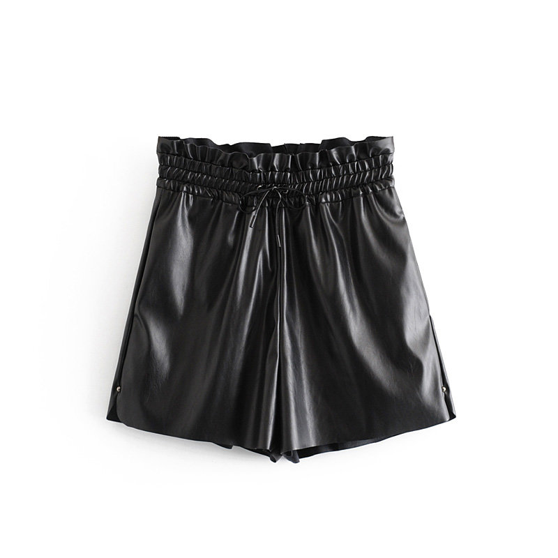 Women Fashion Agaric Lace Elastic Waist Hot Shorts Ladies PU Leather Casual Chic Pantalone Cortos Pockets Bow Ruffle Shorts P568