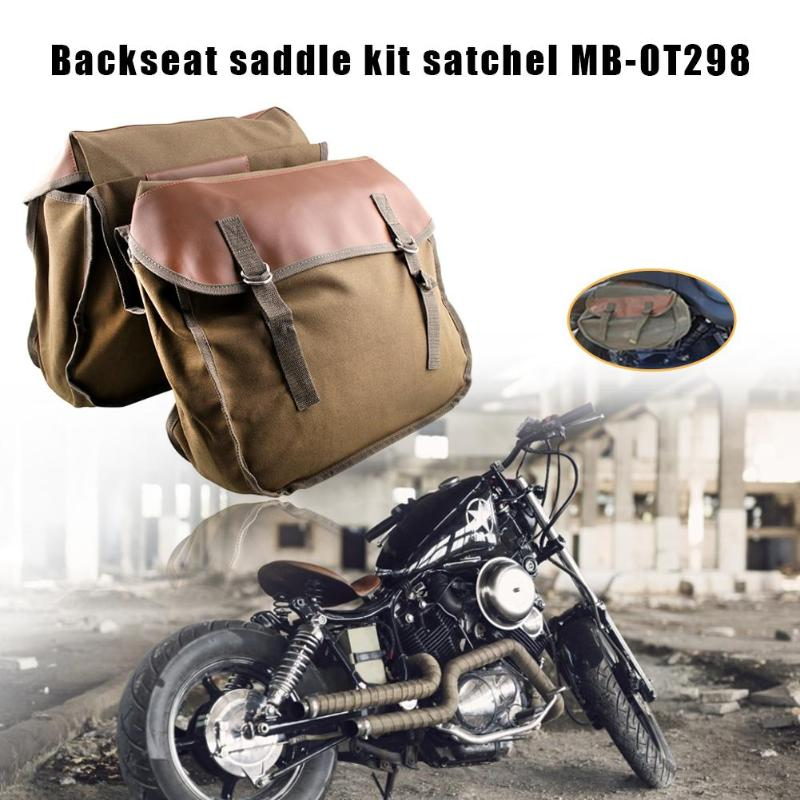 Motorcycle Saddle Bag Canvas Saddlebag Tool Bag Universal Cycling Portable Large Capacity For Honda Shadow Kawasaki Vulcan