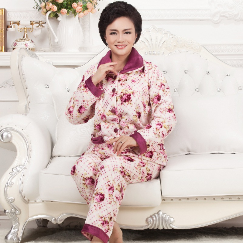 Middle Aged And Elderly People Flannel Pajamas Women's Winter Thick Grandma Old Man Large Size Set Mom Warm Home Wear
