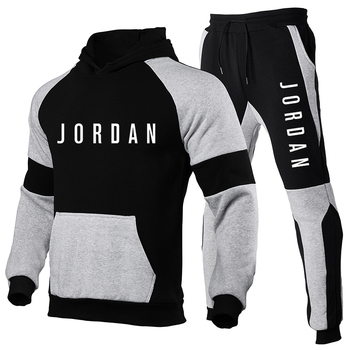 2020 New Brand Tracksuit Warm and Velvet Men Sport Patchwork Set Hoodie Sweatshirt Gyms Fitness Pants Workout Running Suit velvet cropped hoodie and pants twinset