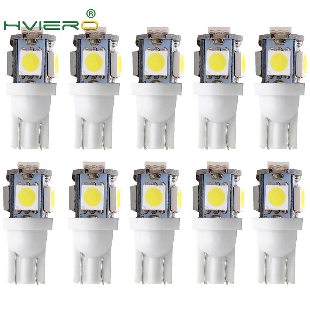 10X T10 W5W 5050 5SMD Auto Led Auto Lamp Interior Lights 168 194 LED DC 12V License Plate Bulbs Clearance Lamps 5led Marker Led