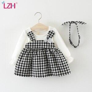 LZH 2020 Autumn Girls Plaid Dress With Cute Ears Hair Hoop Baby Girls Dress Newborn Clothes Cotton Party Dress Children Clothes