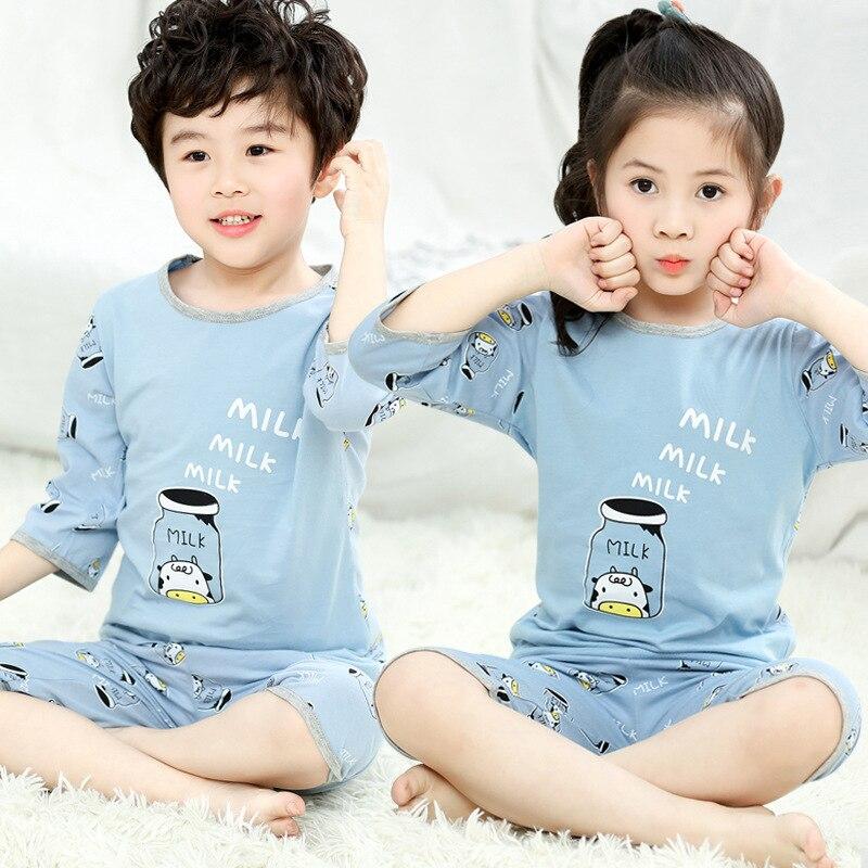 Summer Children's Pyjamas Short Sleeve Girls Sleepwear T-Shirt-Pants Suit Kids Cartoon Pajamas Clothing-Sets Baby Boy Nightwear