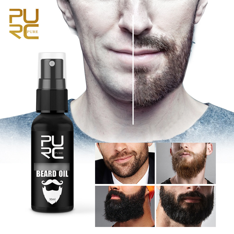 Pure Beard Growth Oil Men Anti Hair Loss Grow Moustache Essence Oil Thicker Fuller Gentlemen's Beard Hair Extension Pro 30ml