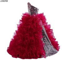 Red 2019 Girls Pageant Dresses For Weddings Ball Gown One shoulder Sequins Ruffles Flower Girl Dresses For Little Girls