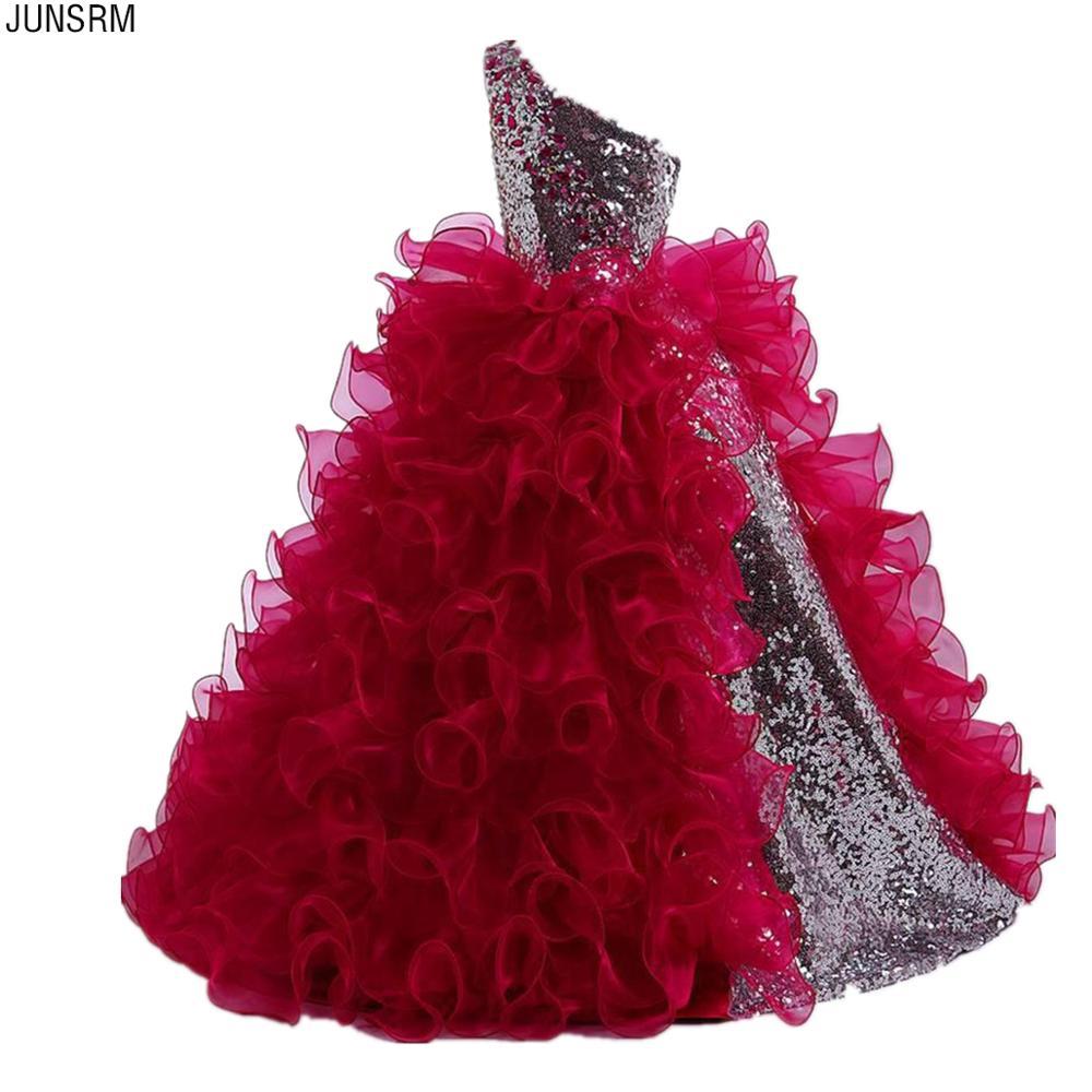 Red 2019 Girls Pageant Dresses For Weddings Ball Gown One-shoulder Sequins Ruffles Flower Girl Dresses For Little Girls
