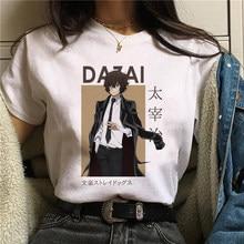 Bungo Stray Dogs T shirt Women Harajuku Anime T Shirt Osamu Dazai Nakajima Atsushi Short Sleeve White Graphic T Shirts Summer