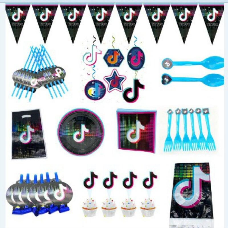 Голосовая тематическая вечеринка на день рождения Сувениры бумажные тарелки и стаканы баннер для детей Tok торт Topper Baby Shower Party поставка сваде...