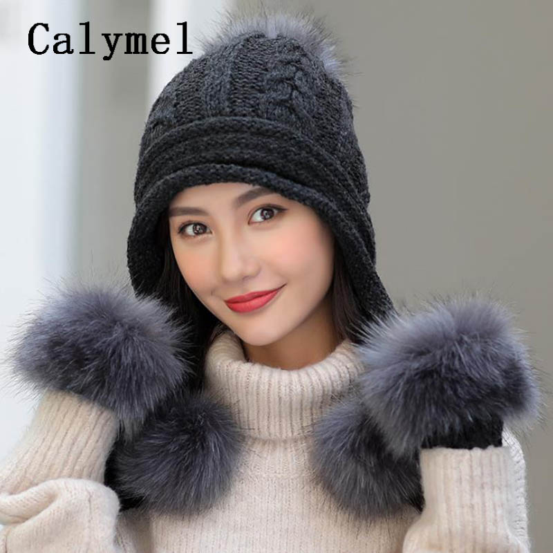 Calymel Fashion Simple New Knitted Wool Hat Gloves Set Ladies Winter Warm Large Hairball Plus Velvet Thick Set