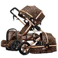 Luxury baby stroller 3 in 1 High landscape stroller can sit reclining two-way light folding shock absorber newborn baby Pram
