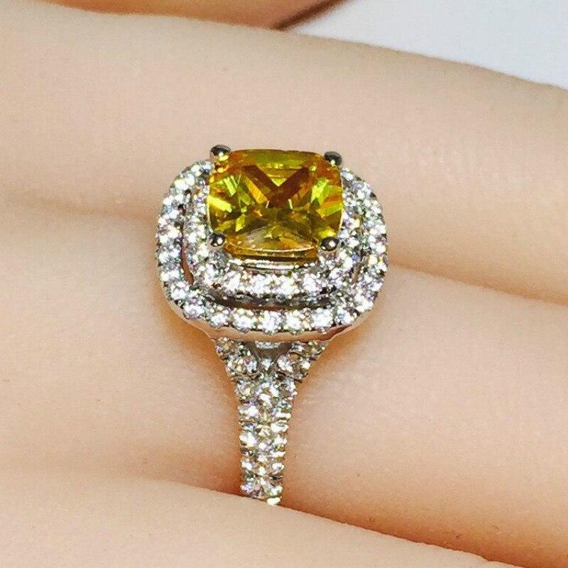 2ct Carat luxe anneaux ronds jaune CZ bague de fiançailles de mariage SONA S925 argent Sterling or blanc couleur femmes bijoux - 3