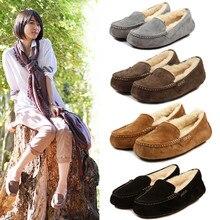 ยี่ห้อ Ivg จัดส่งฟรี 2019 คุณภาพสูงออสเตรเลียผู้หญิงนุ่มสบายรองเท้ากวางฤดูหนาวรองเท้าหนังแบนรองเท้า