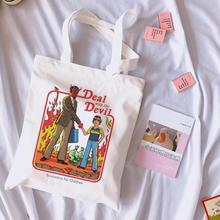 Предложение с принтом дьявола в винтажном стиле Harajuku Повседневная Женская Холщовая Сумка на плечо Забавный мультфильм лето Ulzzang сумки для покупок