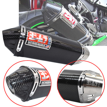 51mm Universal carbon fibers Motorcycle for yoshimura exhaust muffler exhaust escape moto for bmw cbr1000 Tmax530 z1000 z800 570mm 480mm 380mm universal motorcycle akrapovic exhaust muffler z900 r3 tmax530 cbr300 tnt250 bn300 hexagonal escape silencer