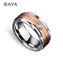 Anéis de casamento de tungstênio para homens mulher rosa chapeamento de ouro acabamento escovado com pedra de zircônia cúbica, personalizado, frete grátis