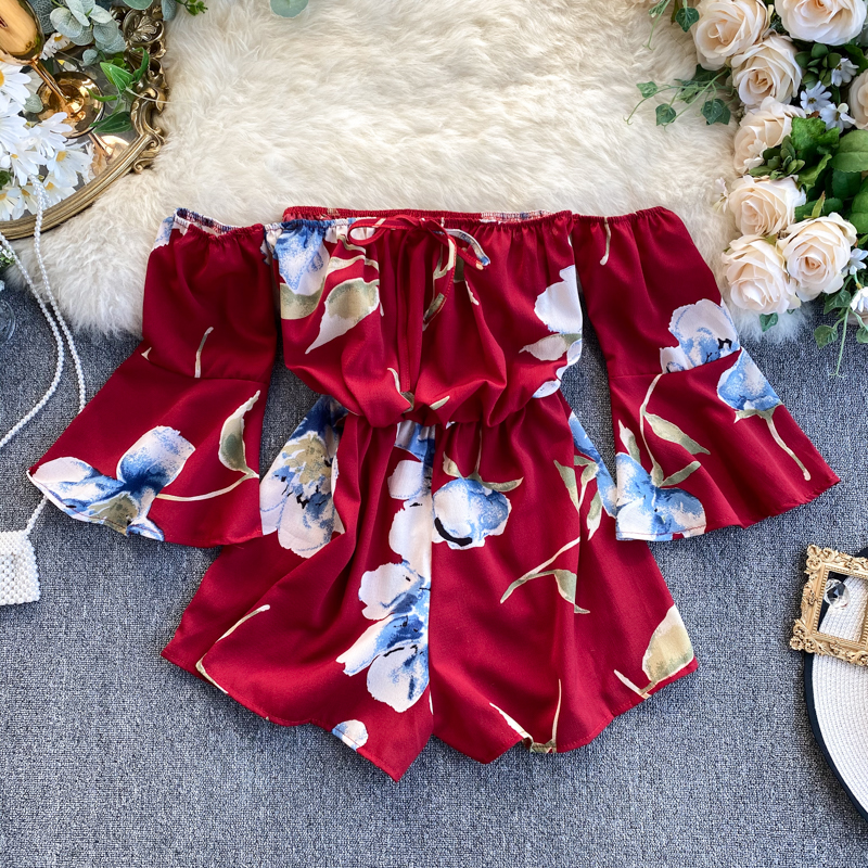 2020 Summer New Chiffon Women Playsuits And Rompers Floral Slash Neck Flare Sleeved Wide Leg Short Lady Clothing Tops