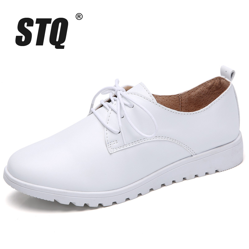 Image 2 - STQ Women Winter Casual Sneakers Shoes Women Wedge Genuine Leather Lace Up Shoes Flats Ballet Shoes Women Chaussure Femme 9935Womens Flats   -