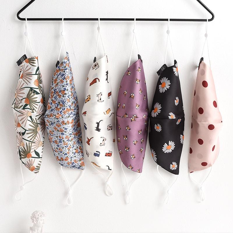 Mascarilla de seda lavable y reutilizable para mujer, máscara con estampado de diseño a la moda, a prueba de orejas, protector solar, antipolvo, transpirable