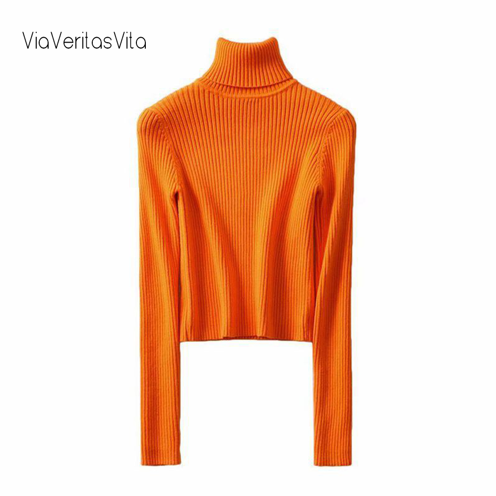Neon Orange Green Sweaters Women Long Sleeve Cropped Sweater Turtleneck Knitted Pullovers Short Jumpers Womens Winter Clothes