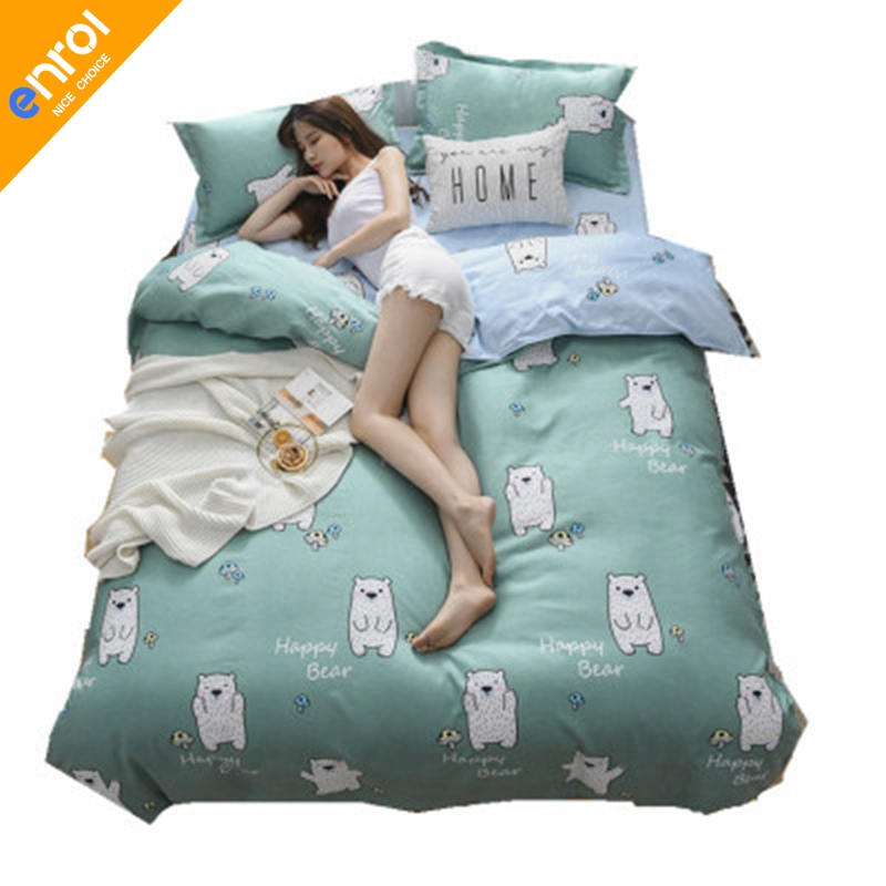 4pcs Cotton Printing Plaid Bedding Set Cheap Full King Size Single Double Bed Comfortable Fitted Sheet Sanding Mattress Cover