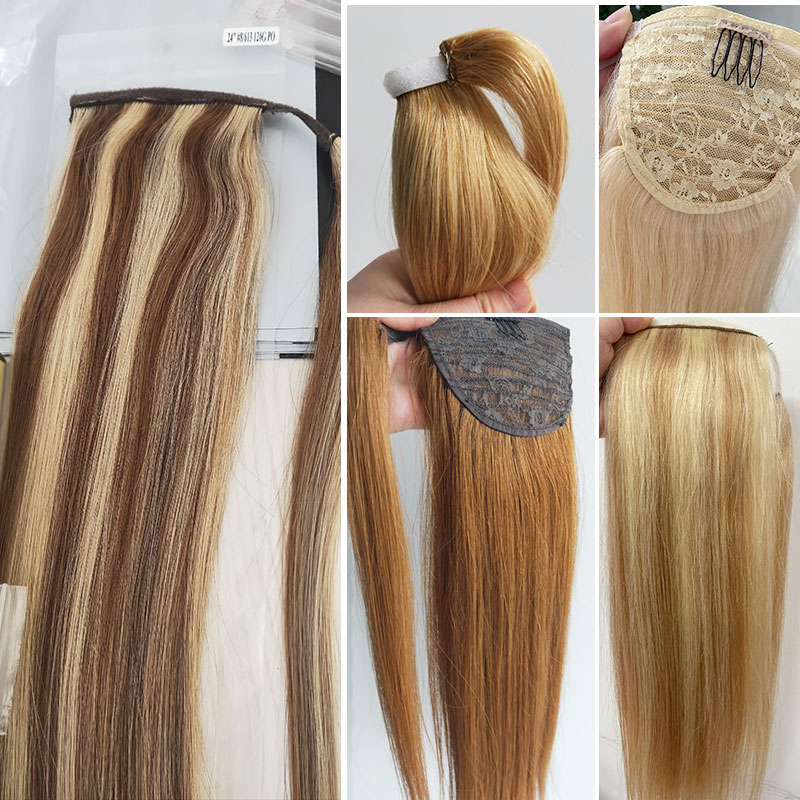 Human-Hair Ponytail Extensions Blonde Machine-Made Natural Brazilian Real Clip-In Balayage