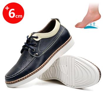 Męskie buty na koturnie wysokie buty wysokość buty buty na wysokim obcasie wysokie buty tanie i dobre opinie HOMASS podstawowe CN (pochodzenie) Na wiosnę jesień Z dwoiny RUBBER Sznurowane DRESS Dobrze pasuje do rozmiaru wybierz swój normalny rozmiar
