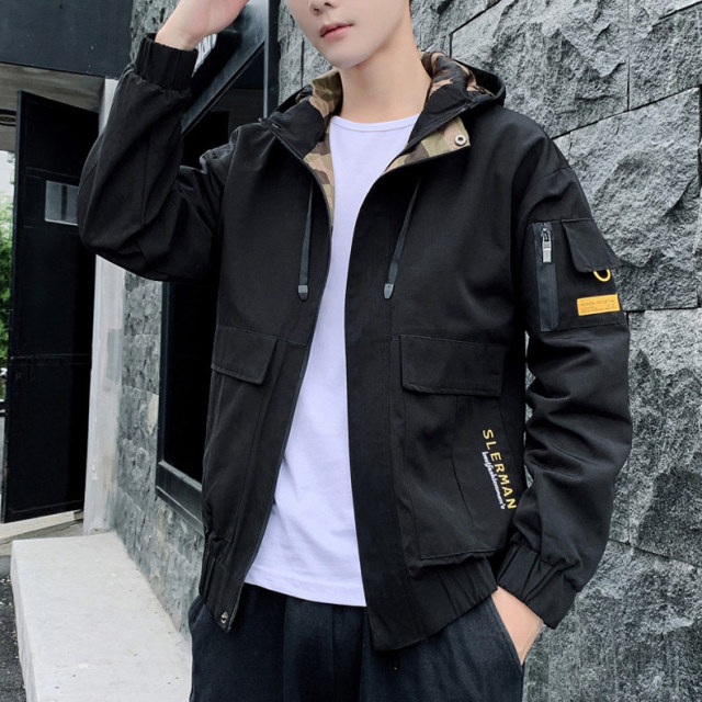 2020 New Autumn Winter Jacket Men Hooded Streetwear Non-removable Hood Mens Windbreaker Jackets Fashion Outwear Male 2