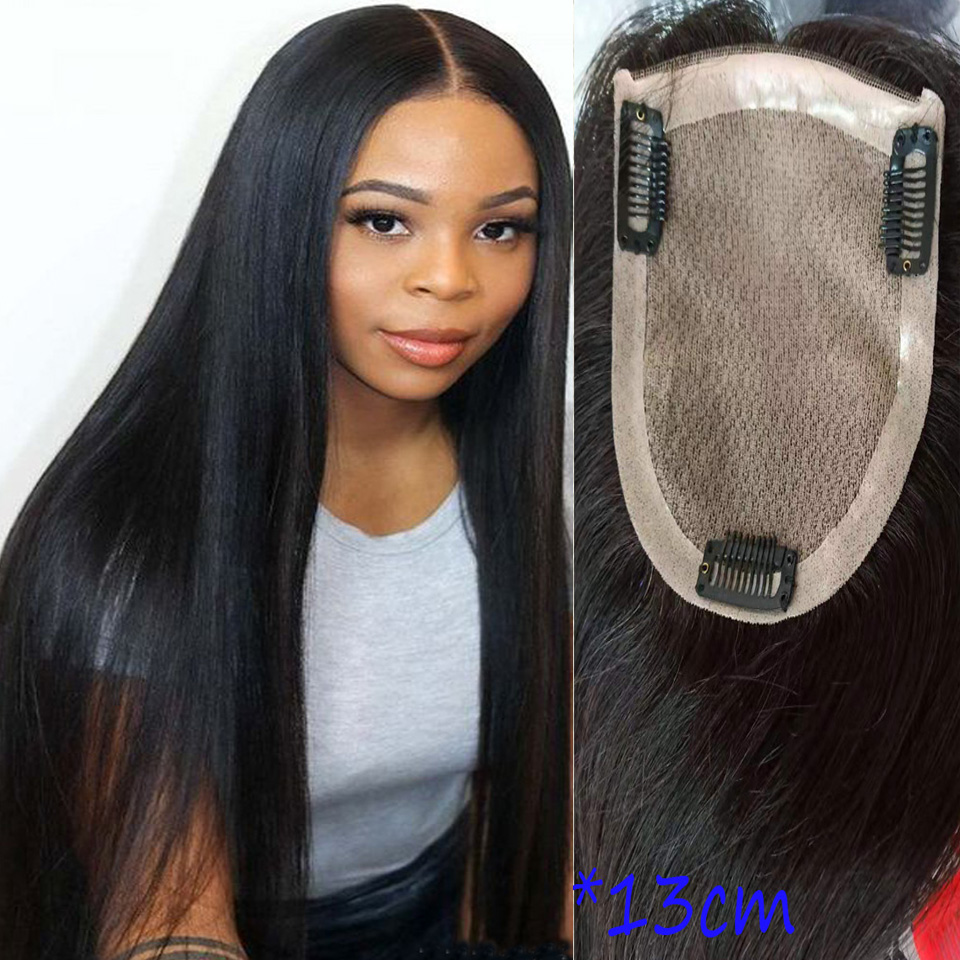 BYMC 8*15cm Straight Silk Base Hair Topper Hairpieces For Women 100% Natural Full Lace +PU Made Remy Human Wig Toupee Hair