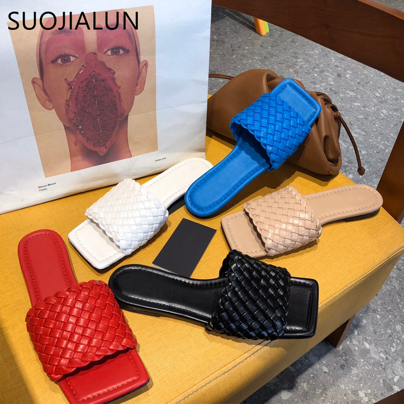 SUOJIALUN 2020 New Brand Design Women Slipper Weave Fabric Women Summer Beach Slides Outdoor Flip Flops Open Toe Flat Slipper