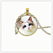 Fashionable cute cat pattern pendant necklace 25mm round pendant new personality fashion necklace