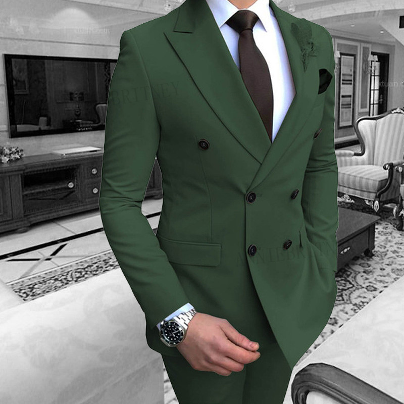 ANNIEBRITNEY 2019 Men's Suit Set Double-breasted Groom Green Slim Fit Formal Tuxedo For Wedding Party Dresses Male (Blazer+Pants
