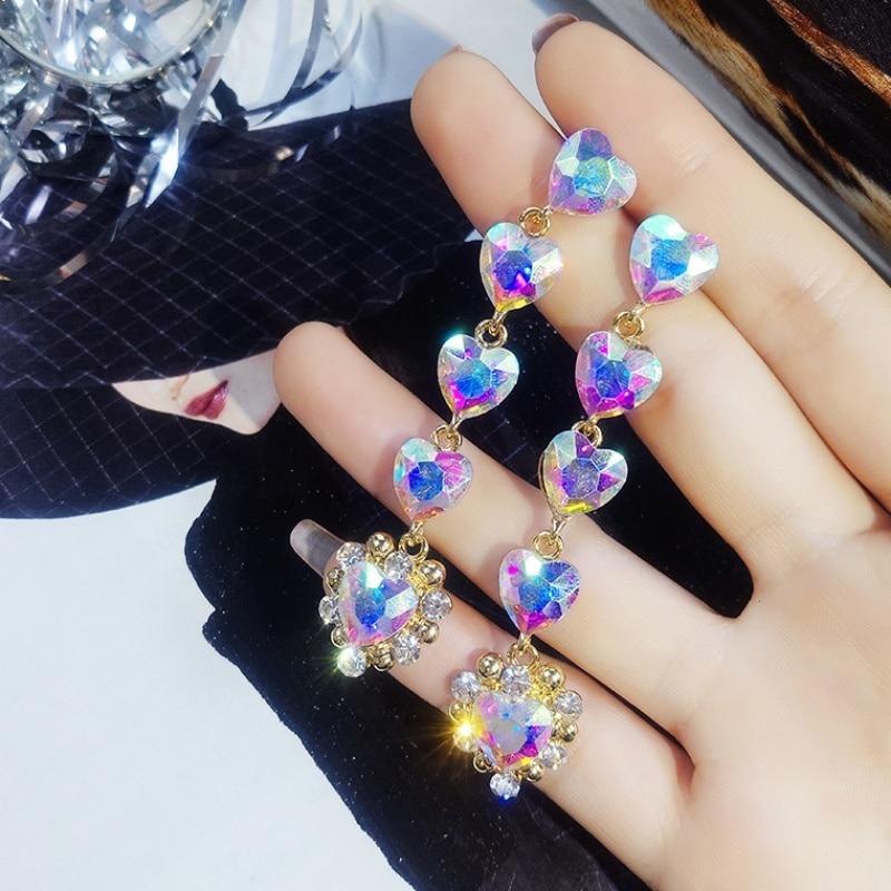 New Korean Trendy Five Love Heart Rhinestone Long Pendientes For Women Fashion Colorful Crystal Dangle Earrings Jewelry Gift