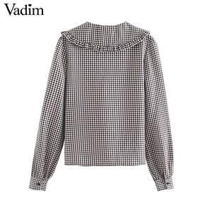 Image 2 - Vadim vrouwen mode basic plaid blouses peter pan kraag lange mouwen vrouwelijke toevallige zoete tops chic blusas mujer LB646