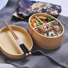Lunch-Box Japanese-Style Healthy Tableware Food-Containers Kids Wood for with Compartments
