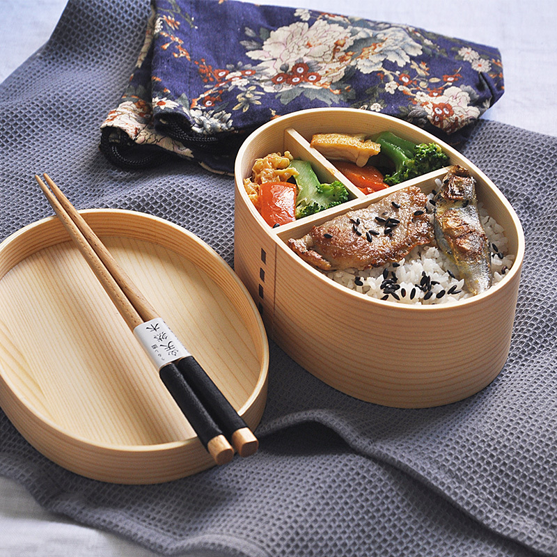 1Pcs <font><b>Lunch</b></font> <font><b>box</b></font> Bento <font><b>Box</b></font> Japanese Style For Kids <font><b>Wood</b></font> Material Tableware Food Containers With Compartments Healthy image