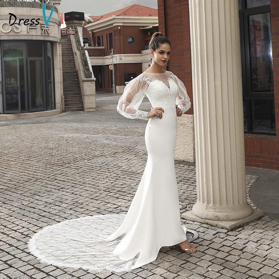 Dressv Ivory Elegant Wedding Dress Long Sleeves Mermaid Appliques Outdoor&church Button Lace Trumpet Wedding Dresses