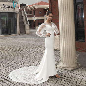 Dressv ivory elegant wedding dress long sleeves mermaid appliques outdoor&church button lace trumpet wedding dresses eyelash lace detail trumpet sleeve plaid dress
