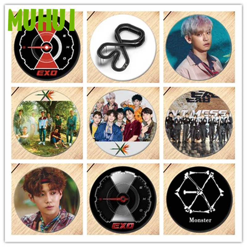 Free Shipping Kpop EXO CHANYEOL KAI SEHUN Brooch Pin Badges For Clothes Backpack Decoration Jewelry B061