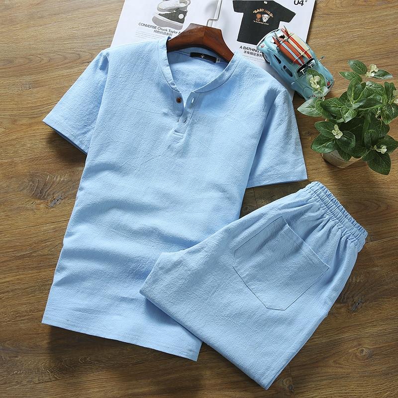 2020 Summer Wear Men Fashion Flax Short Sleeve T-shirt Set Teenager Summer Cotton Linen Casual Two-Piece Set