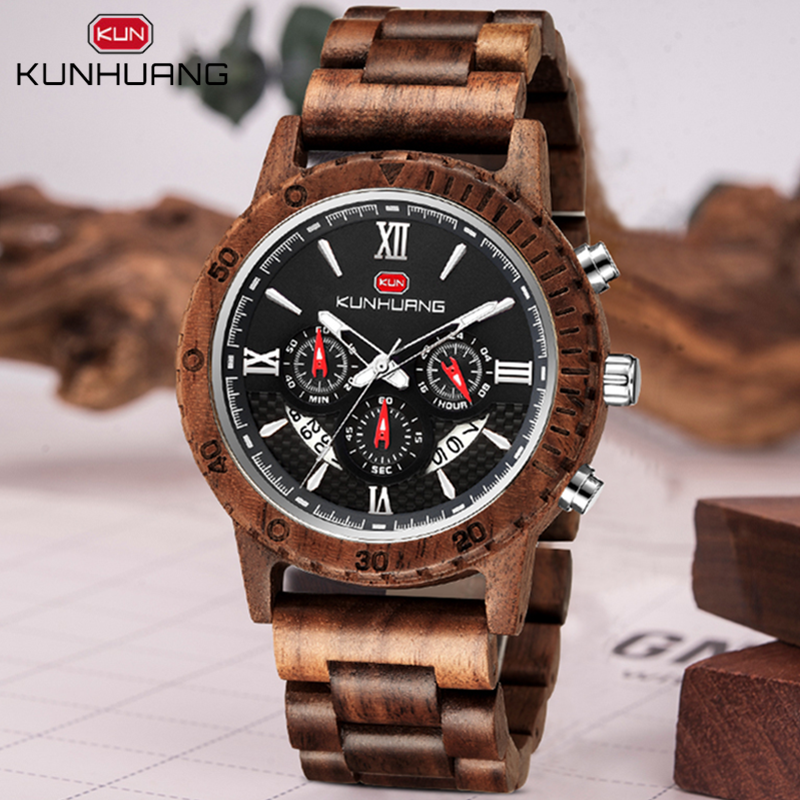 Watches Man Clock Chronograph Military Top-Brand Sport Reloj Hombre Men Luxury Wooden