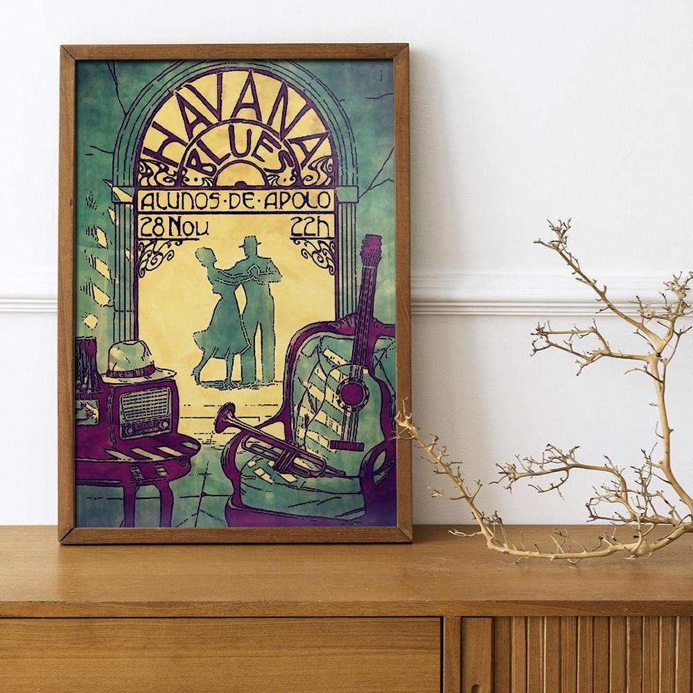 Affiche imprimée Vintage, Art Nouveau, silhouette, toile de danse, peintures murales, images dart, décoration de maison, Cuadros