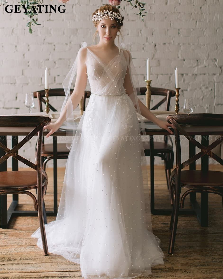 Fairy Pearls Tulle Boho Wedding Dress Country Sexy V-Neck Backless Bohemian Bridal Gowns Simple Elegant 2020 Vestido De Boda