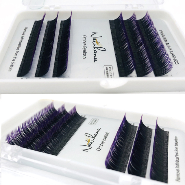 NATUHANA Free shipping 6Rows Ombre Blue Purple Color Eyelash Extension Individual Faux Mink False Eye Lashes Professional Salon 3