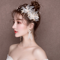 Gold Color Metal Headdress Hair Jewelry Yarn Flower Headband Side Clips Accessories Engagement Wedding Bridal Headwear Handmade